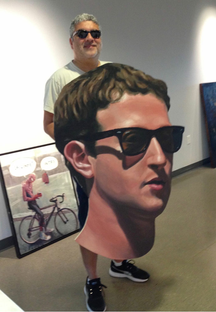 "TP dropping off his painting, ""Mark Zuckerberg"", at Coastline Community College Art Gallery."