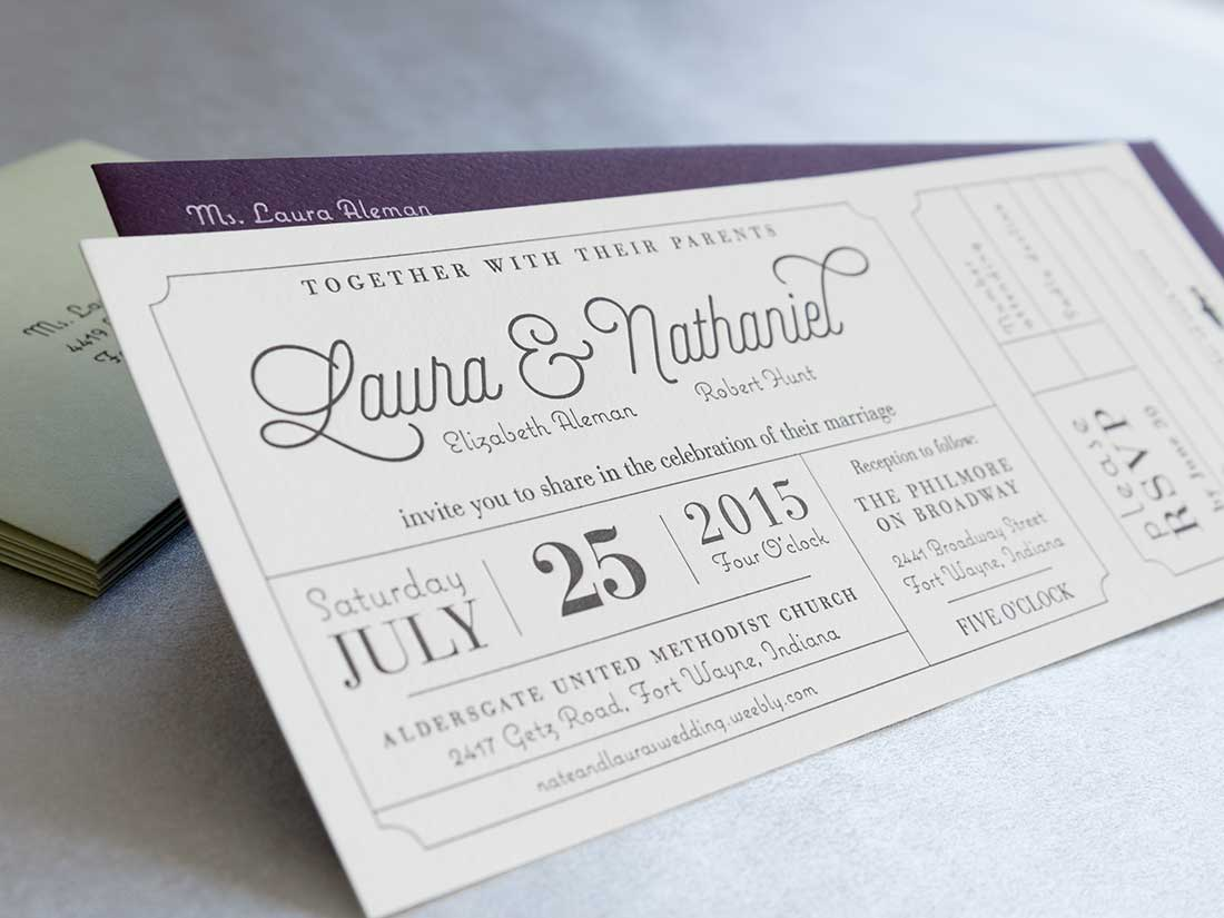 Close up of letterpress wedding invitation for Laura & Nathaniel with silkscreened envelopes