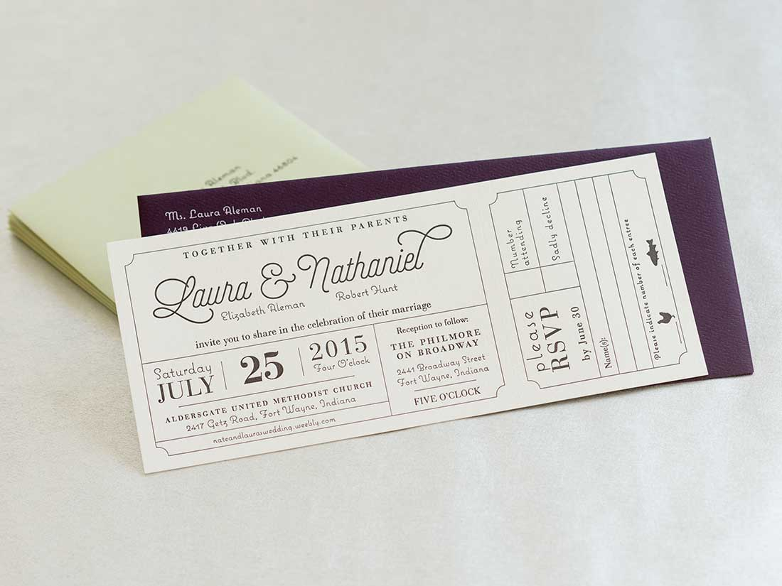 Letterpress wedding invitation for Laura & Nathaniel with silkscreened envelopes