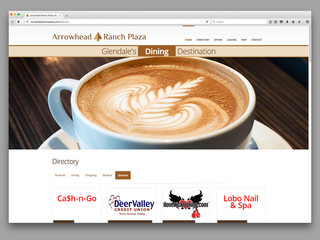 Home page for Arrowhead Ranch Plaza