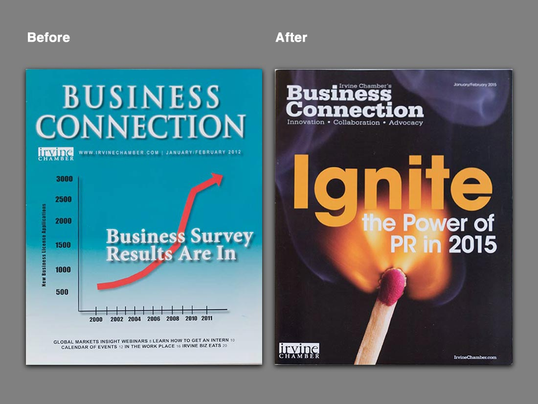 "A before-and-after comparison of the ""Business Connection"" magazine cover design"