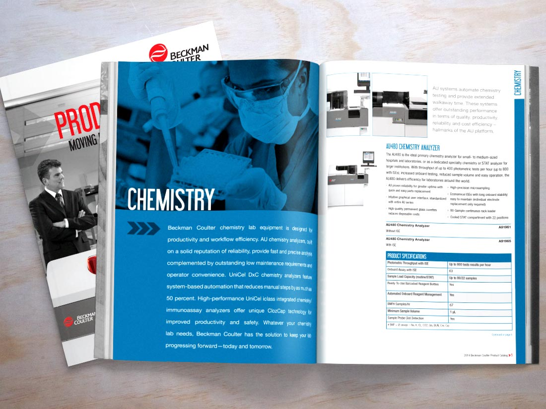 Beckman Coulter Product catalog opened to the Chemistry section
