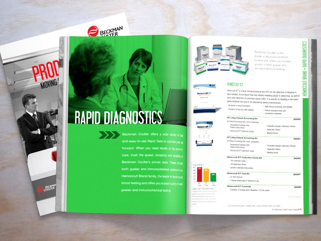 Beckman Coulter Product catalog opened to the Rapid Diagnostics section