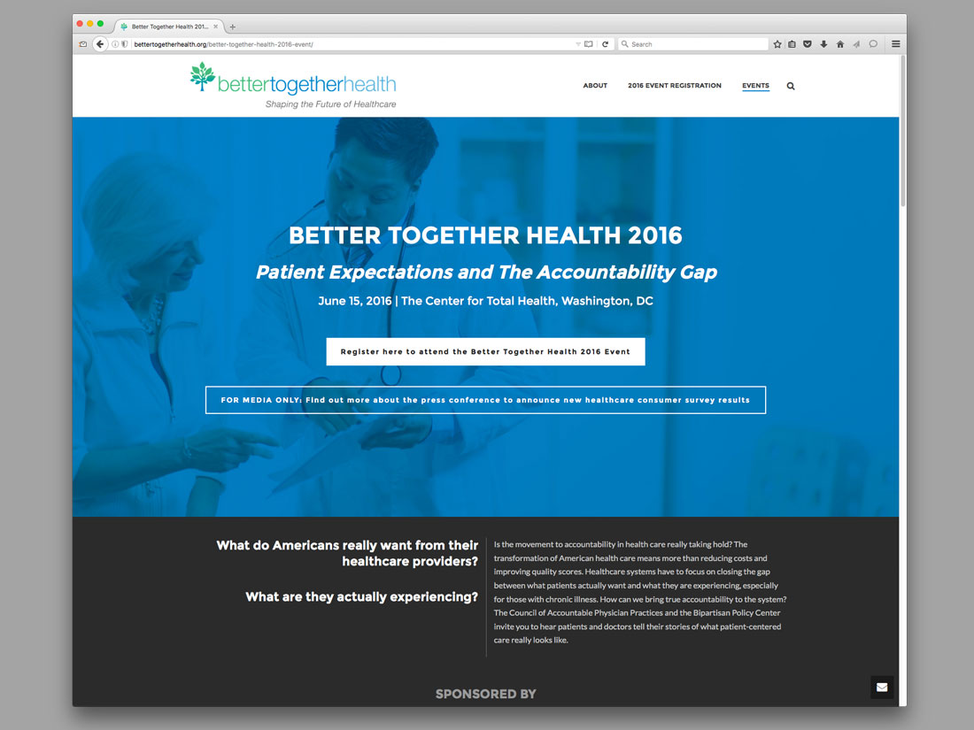 Event page for the 2016 Better Together Health event, including links for registration and media inquiries