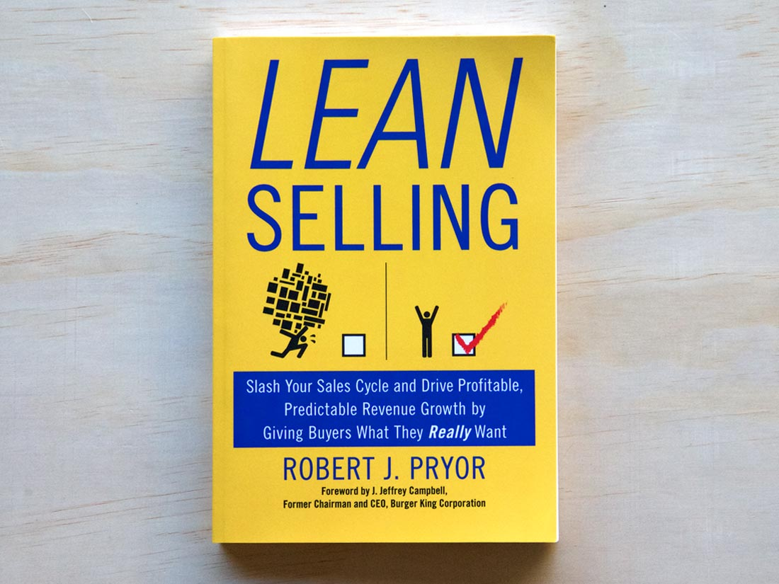 """Yellow cover with blue text for the book, """"Lean Selling"""" by Robert J Pryor"""