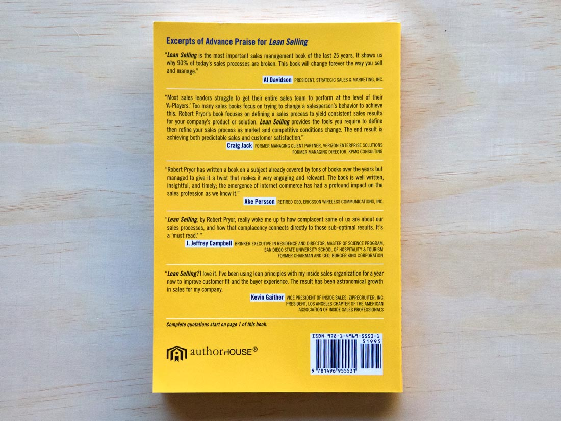 """Back cover of the book """"Lean Selling"""" by Robert J Pryor"""