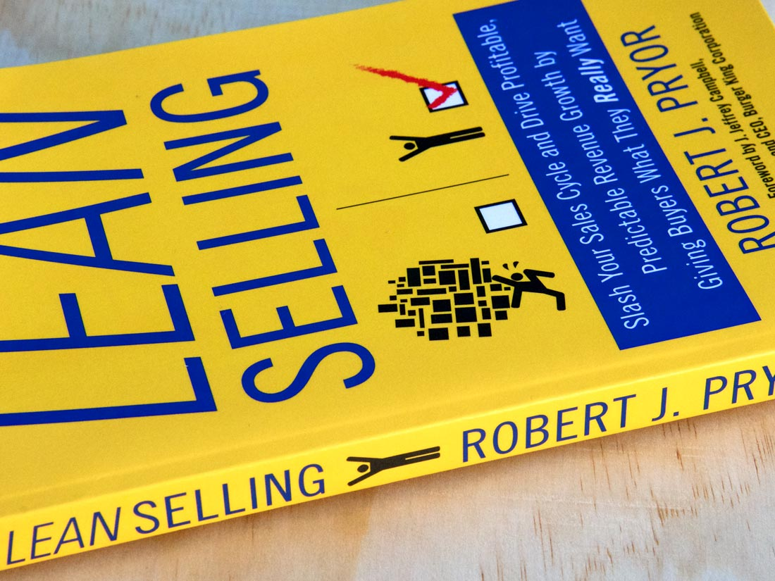 """Side view of cover and spine for the book, """"Lean Selling"""" by Robert J Pryor"""