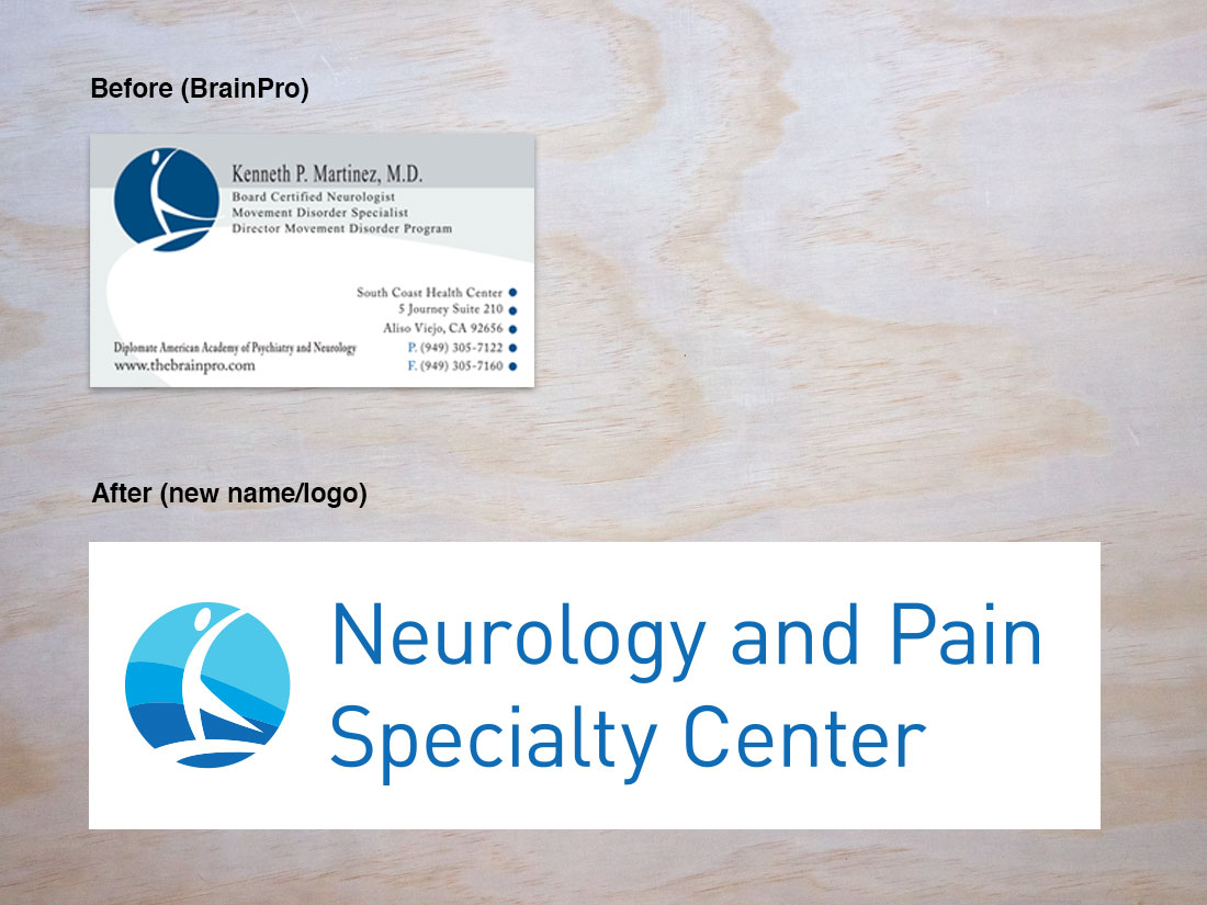 A before-and-after comparison of the Neurology and Pain Specialty Center logos