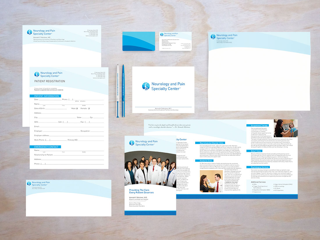 Examples from the Neurology and Pain Specialty Center stationery, including letterhead, standard #10 envelope, a new patient registration form, business cards, large envelope, note card and brochure