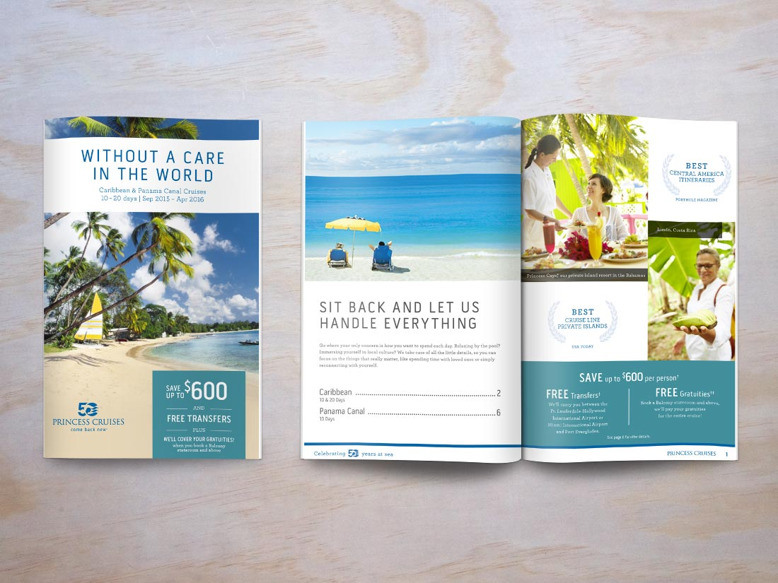 Cover and interior spread for Princess Cruises brochure, featuring Caribbean cruises