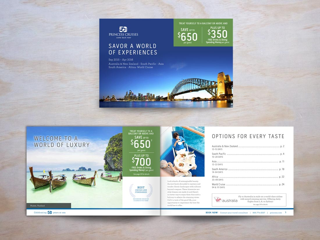 Cover and interior spread for Princess Cruises brochure to exotic destinations