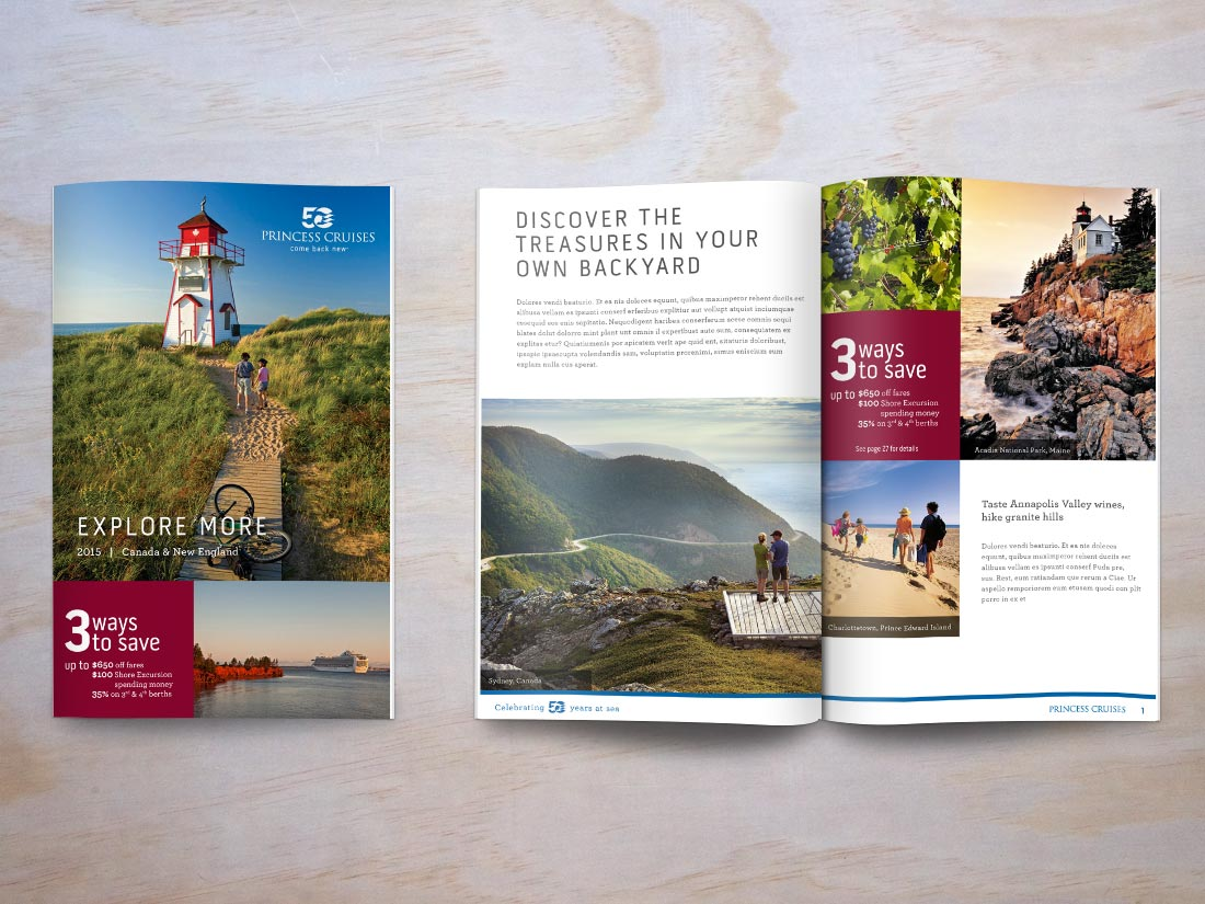 Cover and example interior spread of a brochure for Princess Cruises tours to Canada & New England