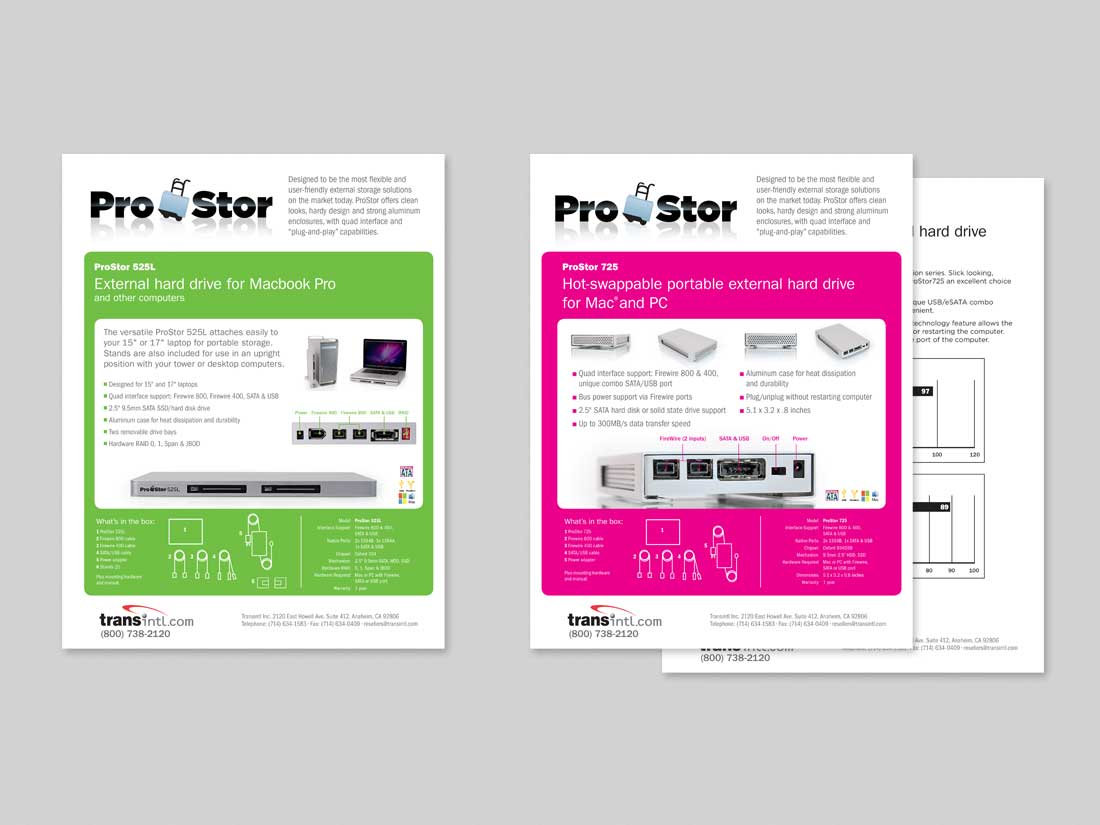 Information sheets for ProStor external drives