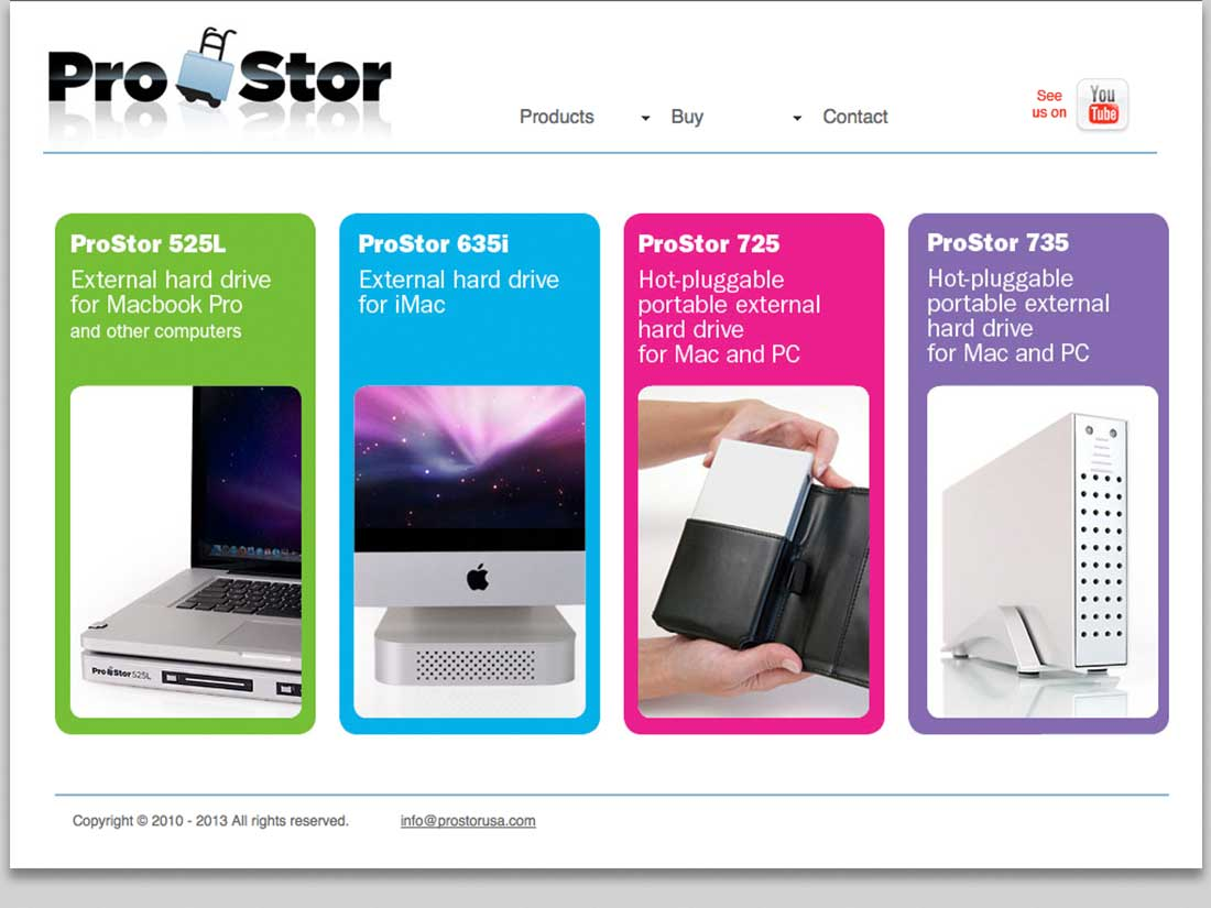 Home page for ProStor website, featuring all 4 external drives
