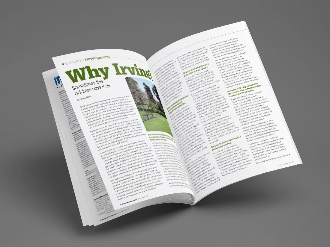 "Interior magazine spread from the Irvine Chamber's ""Business Connection"" magazine, featuring the article, ""Why Irvine?"""