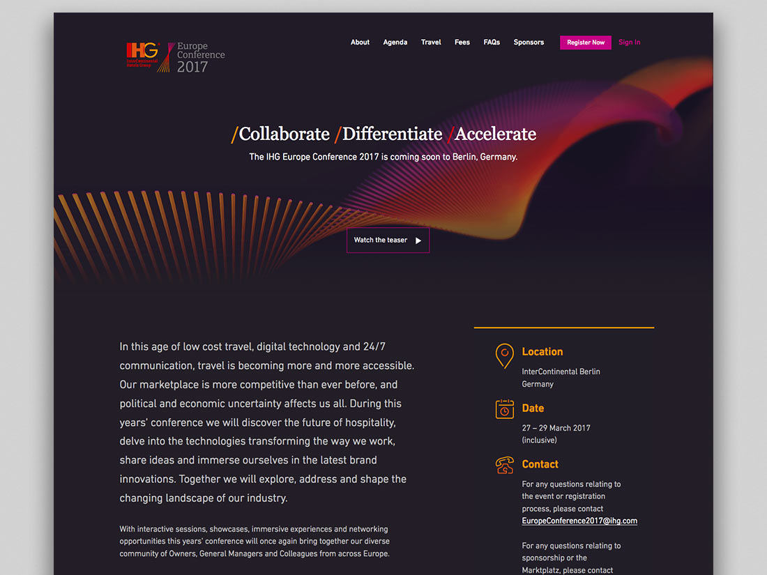 IHG Europe Conference landing page